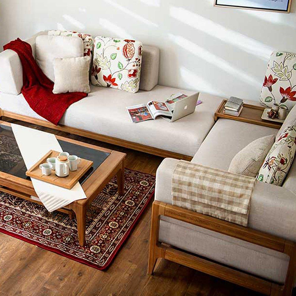 木头公园 全实木框架布艺组合沙发 现代简约棉麻布艺多人位可选