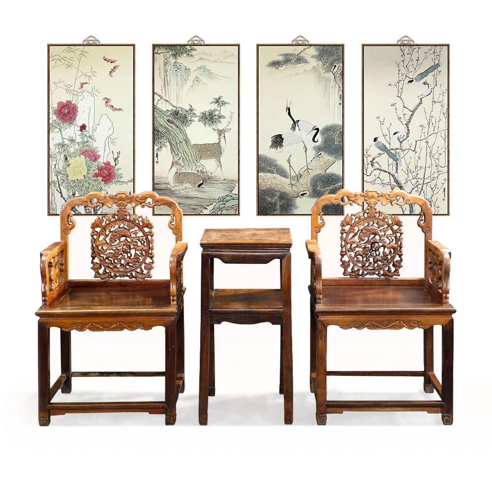 墙蛙 福禄寿喜 新中式客厅装饰画玄关挂画风景画国画办公室 (外框尺寸