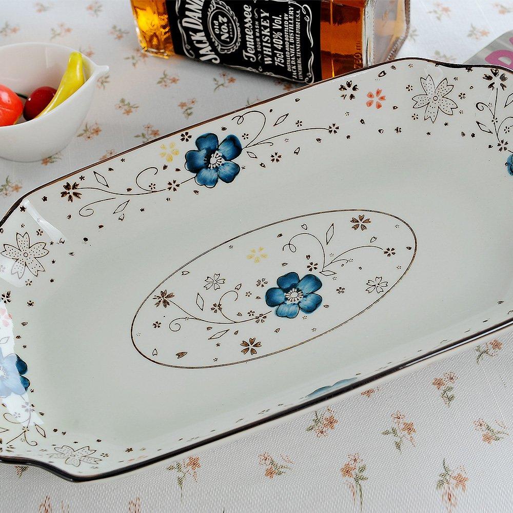 尚韵陶瓷 高温釉下彩手绘瓷 鱼盘 寿司盘 长盘菜盘条盘 (14寸, 蓝色)