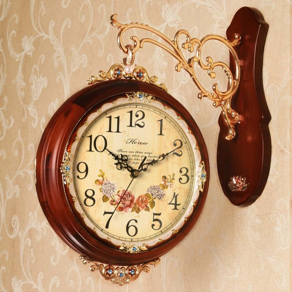 汉时钟表 双面挂钟欧式田园客厅静音钟表创意时尚石英