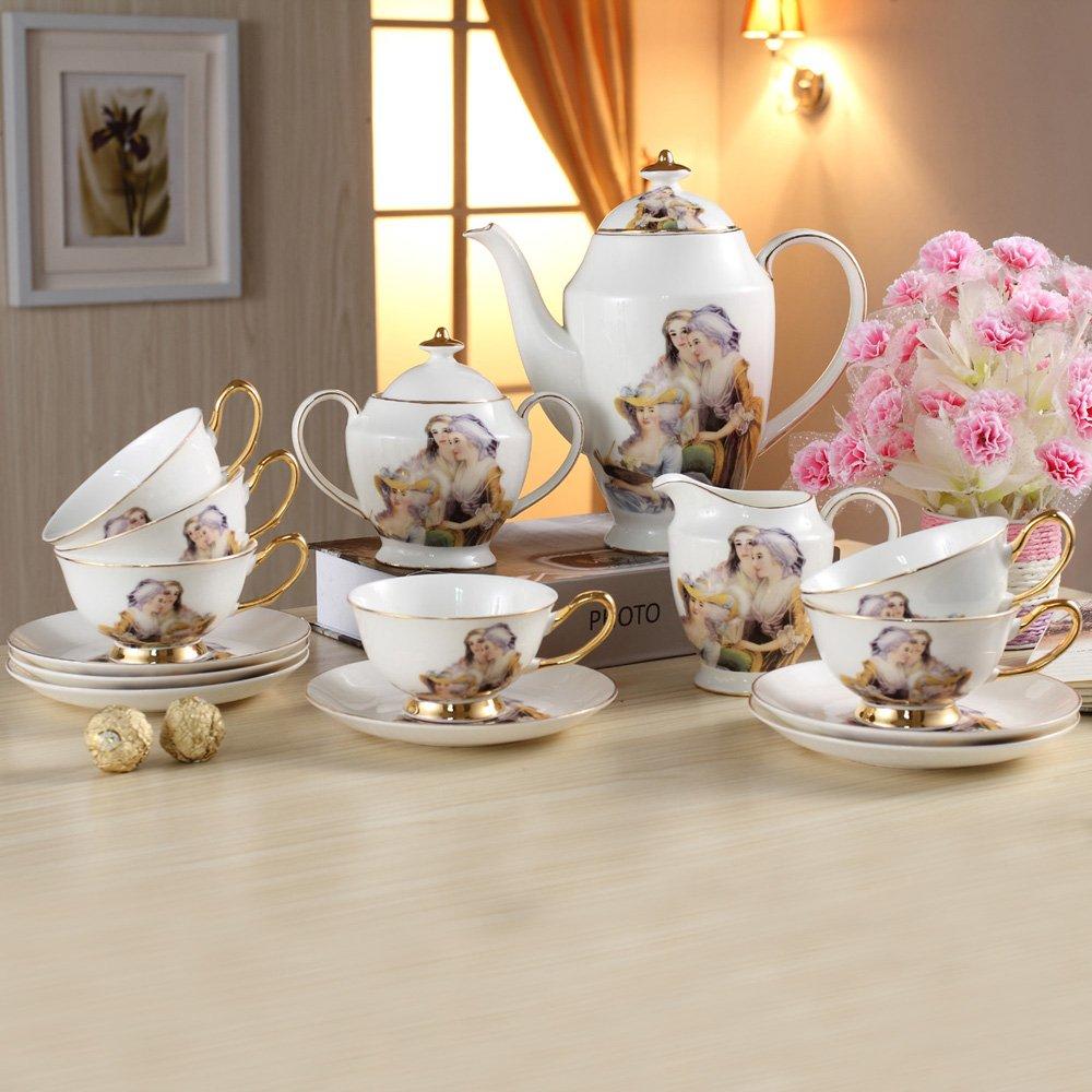 咖啡碟 咖啡壶 奶罐 糖罐 高级骨瓷欧式茶具咖啡具套装