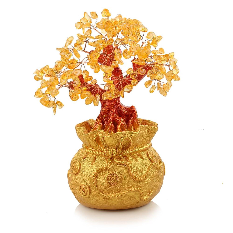 鼎艺 天然黄水晶摇钱招财树风水摆件 钱袋