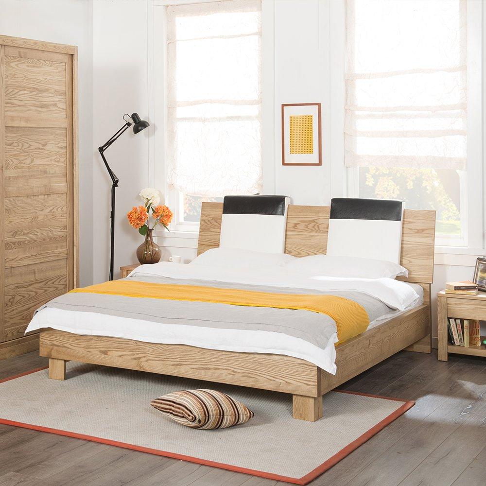 木头公园 现代简约实木床 水曲柳双人床 婚床1.8m大床