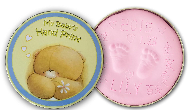 宝宝小熊款手脚印diy纪念品 婴儿手印脚印手足印 (嫩粉色)