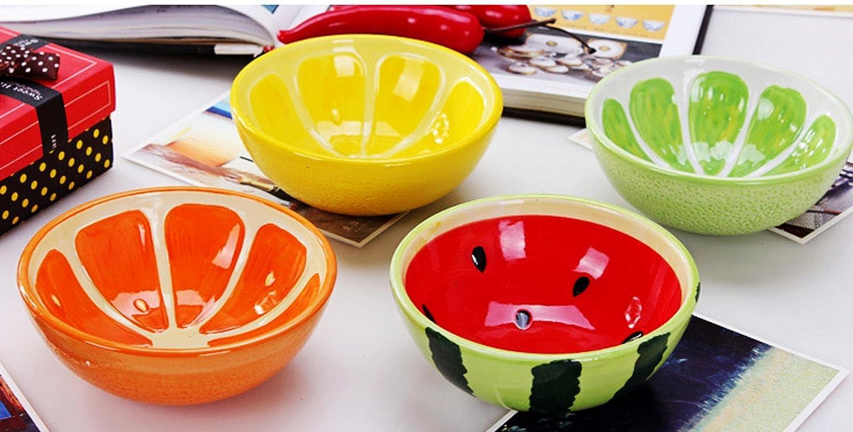 魔力生活 创意家居日式彩绘手绘水果碗 可爱陶瓷米饭碗 小饭碗情侣