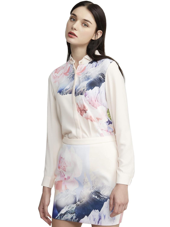 Lily 女式 时尚简约炫彩印花长袖衬衫 114420H410412 深粉红 M(160/84A) 【Lily】 服饰箱包