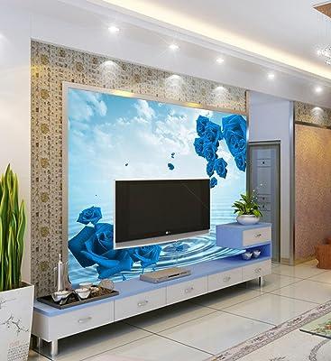 壁画|无纺布墙纸|客厅电视背景墙壁纸|蓝色玫瑰墙布