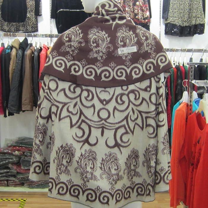 新疆特色图案 斗篷披肩双用长巾 民族风 深咖