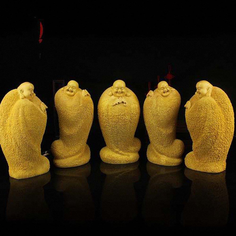 禅意居 桧木雕刻 五福临门木雕工艺品摆件 笑佛弥勒佛像木雕办公商务