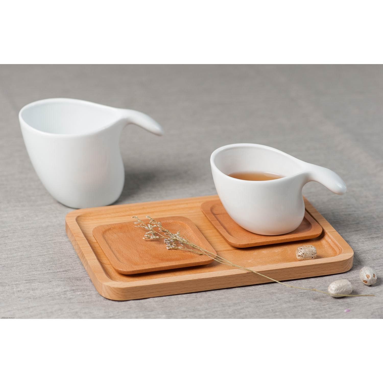 合璜为璧木质方形小托盘杯垫茶盘咖啡盘点心盘10*10