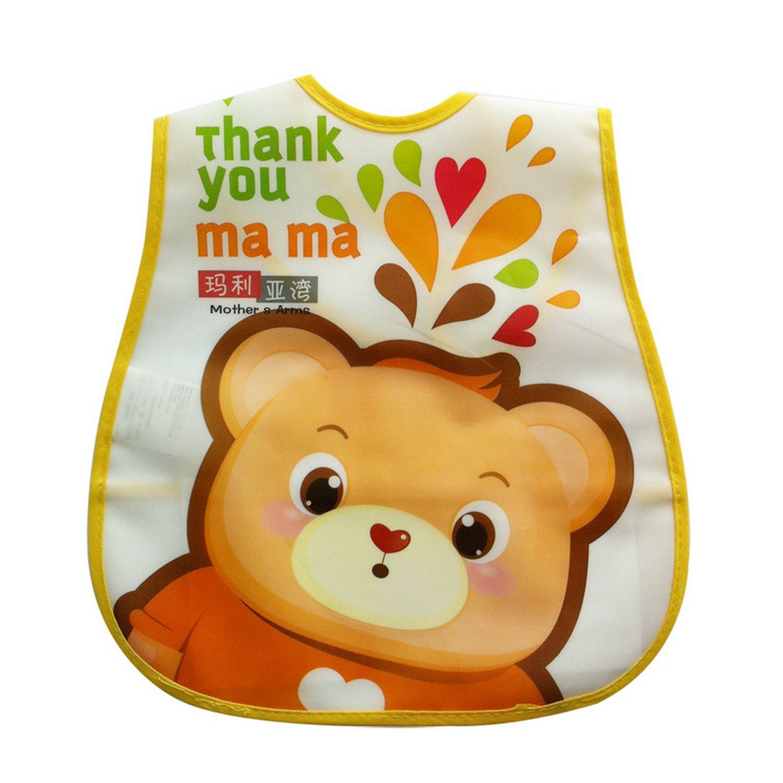 立体喂食饭兜 可爱卡通画画衣 无味可反折橙色小熊