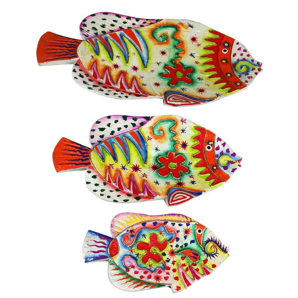 爱居品 泰国工艺品 木雕 手工彩绘 鱼 果盘 三件套 家居装饰 礼品