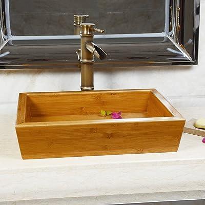 现代中式竹木台上盆w3 复古田园洗手盆艺术盆洗脸盆盘