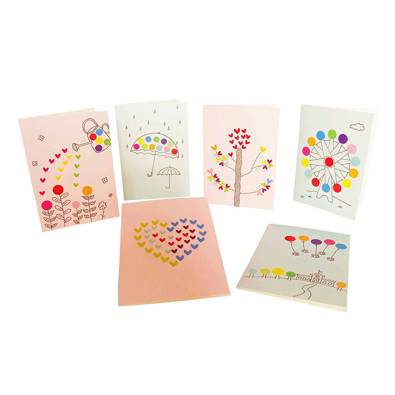 diy贴纸画贺卡手工材料包 教师节中秋节创意礼物 送老师感谢卡片(6张