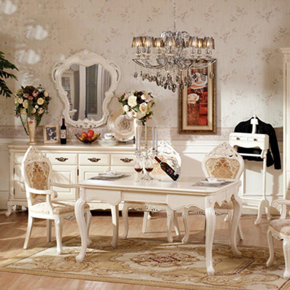 欧式实风格木家具田园餐桌白色长餐台仿古