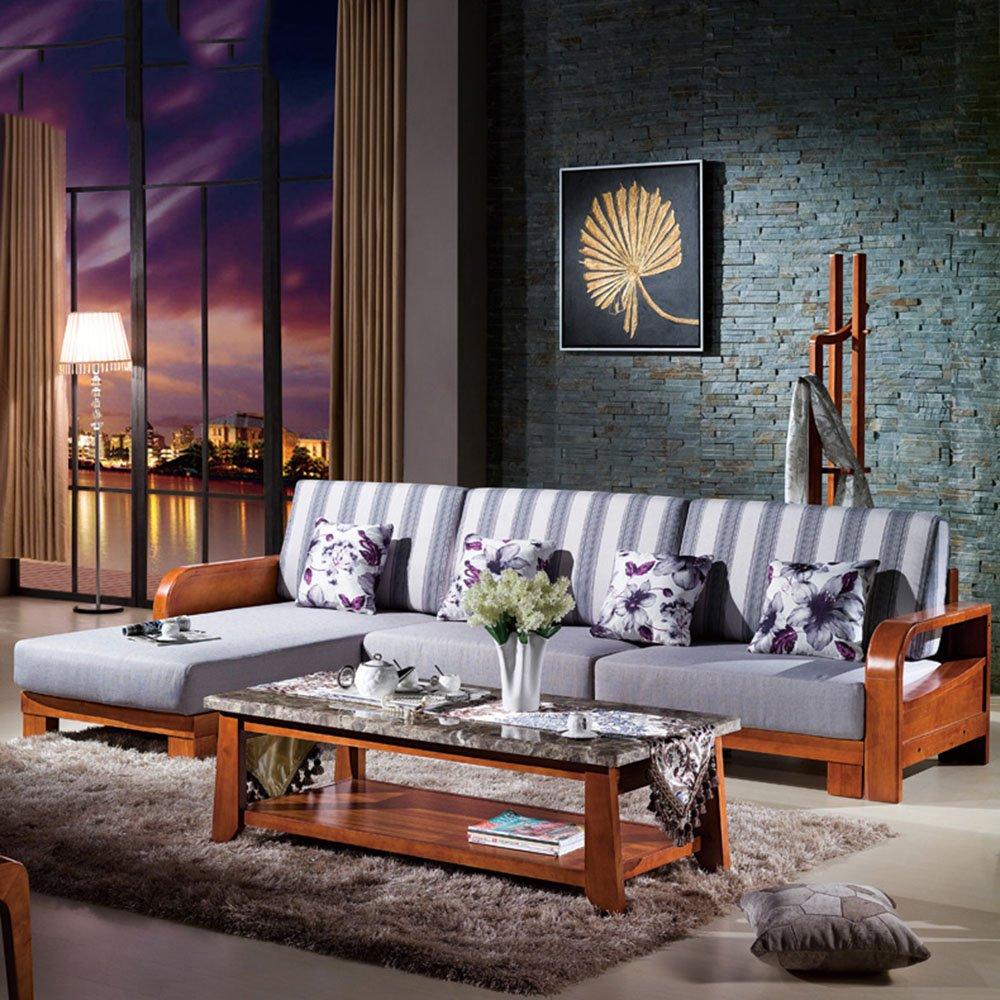 迪邦 中式实木沙发 小户型客厅转角组合沙发 胡桃木布艺沙发 2+贵妃