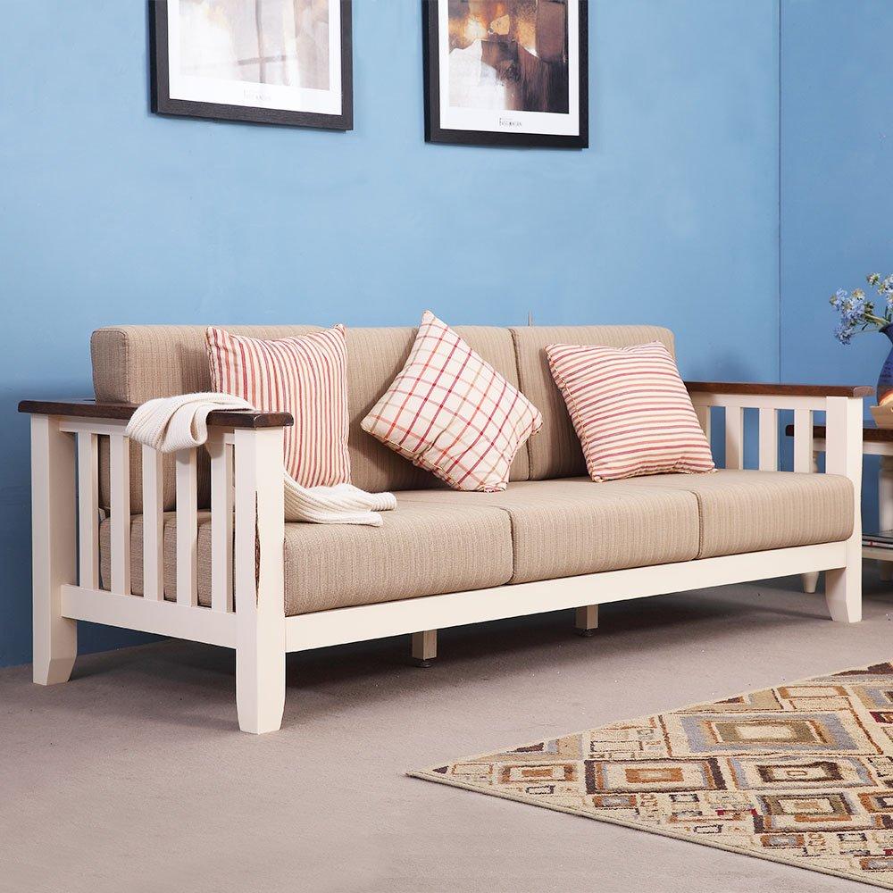 现木生活 实木沙发组合 布艺地中海橡木新古典沙发 木头沙发 木质小