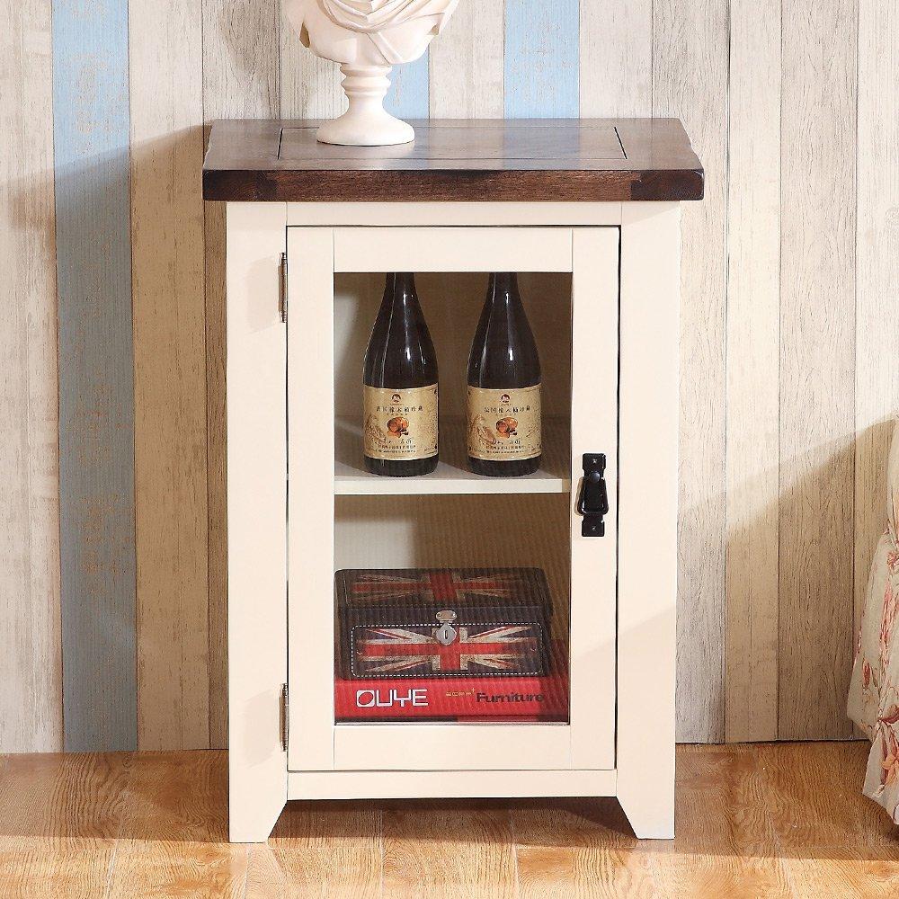 富象 实木酒柜现代简约单门玻璃酒柜白色地中海酒柜展示柜小酒柜橡木