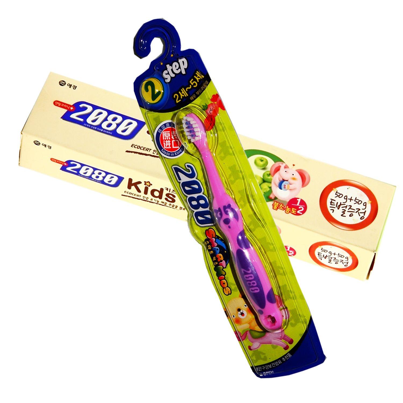 2080 乐活儿童牙膏(青苹果味)50g一支 2080 聪明宝宝牙刷2段(2-5岁)