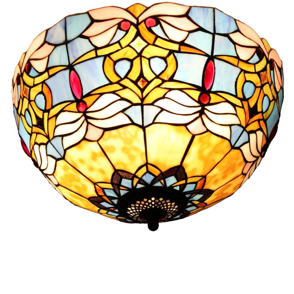 宜轩灯饰tiffanylamp欧式蓝色风情巴洛克40cm吸顶灯个性复古咖啡店