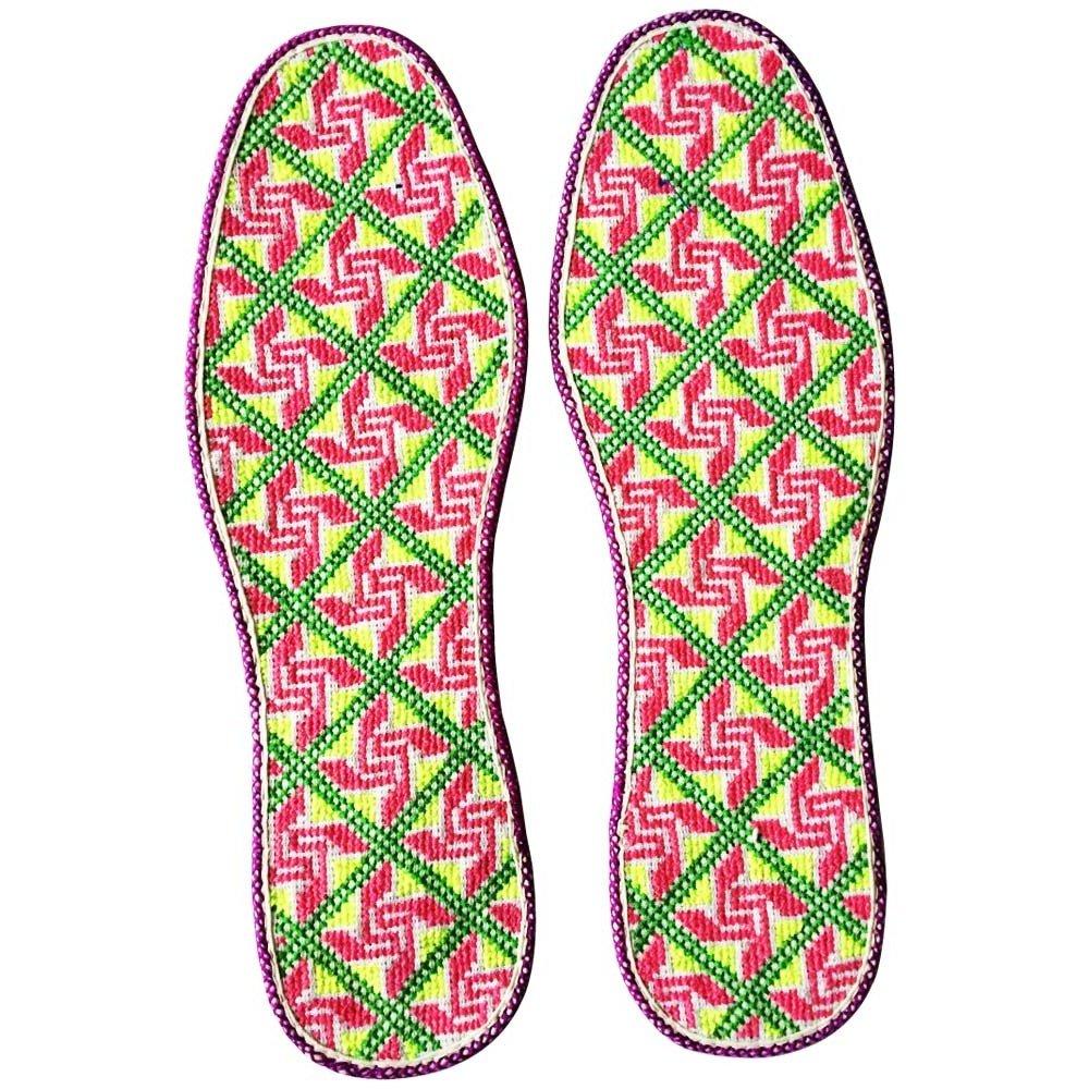 新款纯手工 十字型绣花鞋垫 防臭吸汗 39码鞋垫风车花