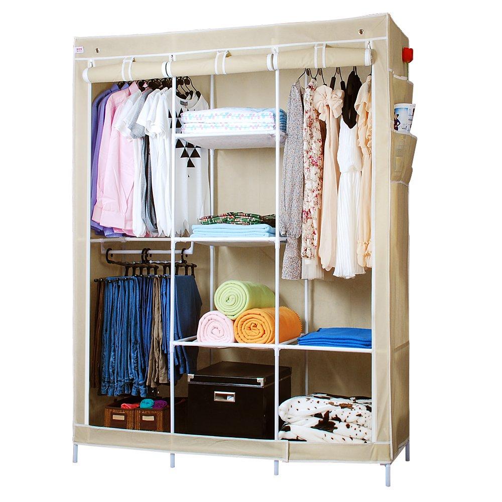美好家136-c钢管衣柜 简易双人拉链衣柜 加固型 (米黄色)
