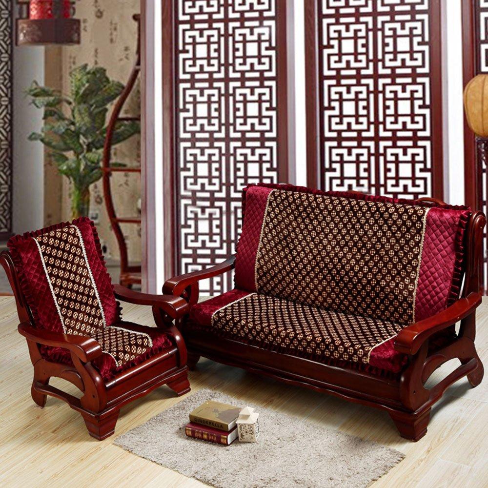 舒天乐 毛绒带靠背垫子红木沙发坐垫/实木沙发垫/加厚木沙发坐垫 中式图片