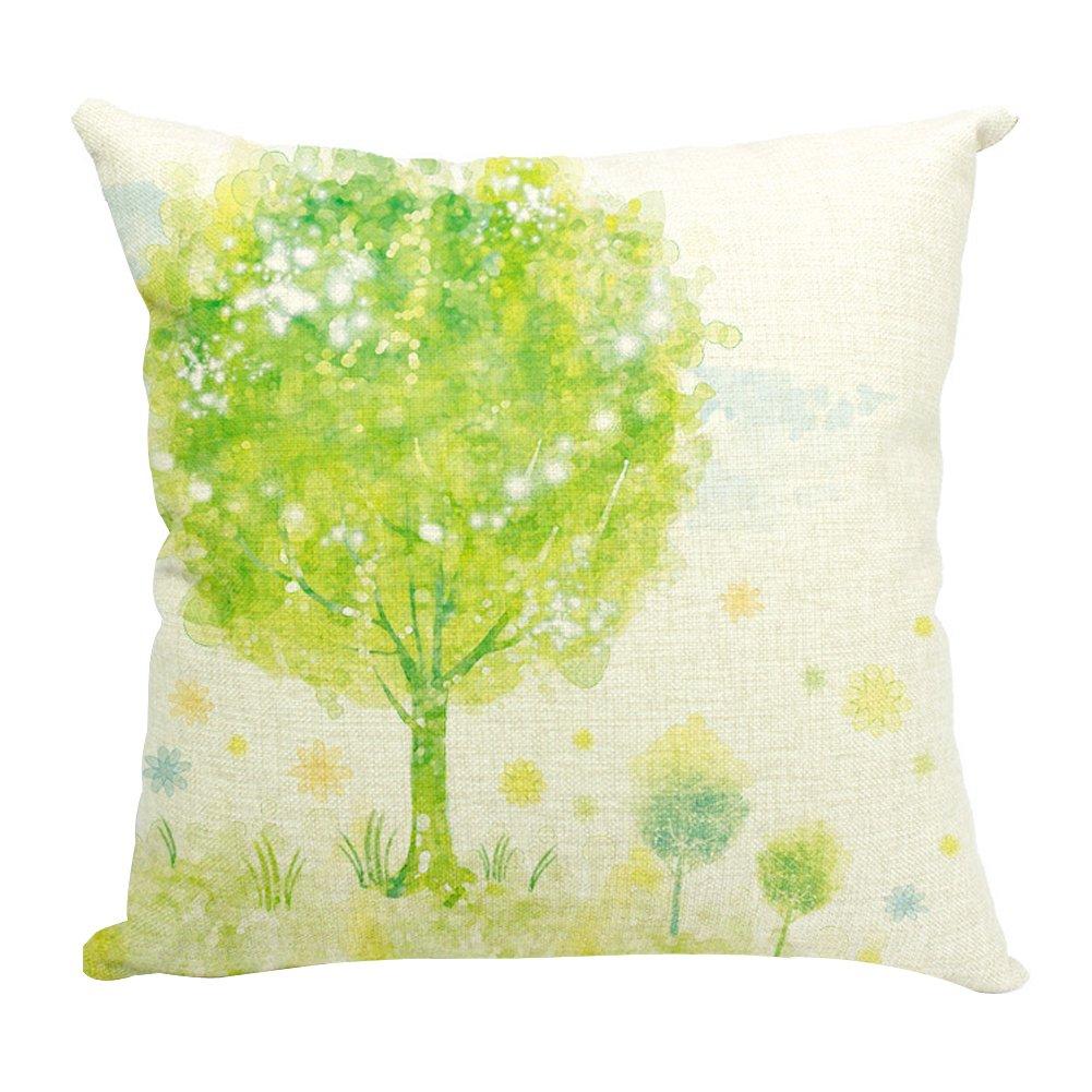 沃之沃 现代简约手绘小清新花卉沙发靠垫抱枕 北欧 飘窗靠背(不含芯)
