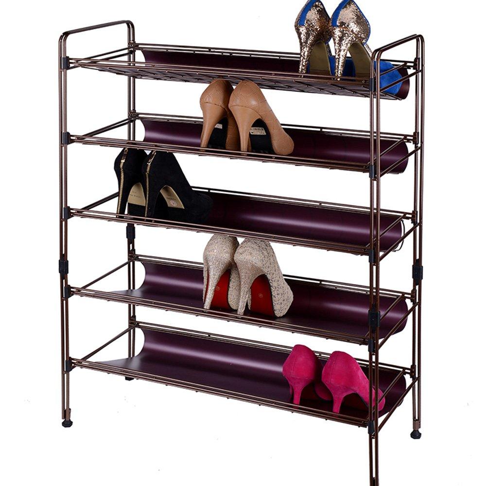 裕兴 欧式简约现代风格五层碳钢防锈烤漆金属鞋架多层收纳铁架子 碳钢