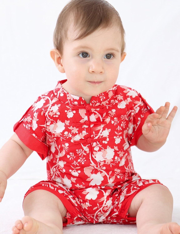 angel dear 中国风全棉喜庆红宝宝连体衣婴儿爬服 9761
