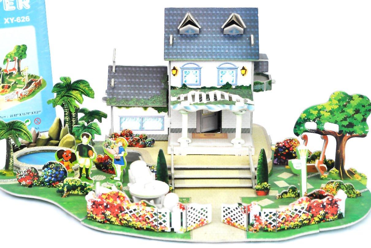 齐峰大8片装儿童别墅3d院子装修diy3d拼图花园别墅智力南航拼图碧立体图片
