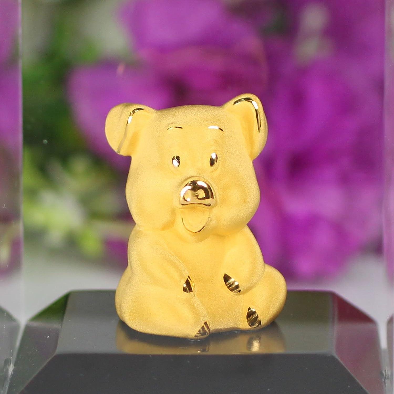 永隆金号 绒沙金摆件十二生肖可爱卡通猪 生日礼物 创意家居装饰品