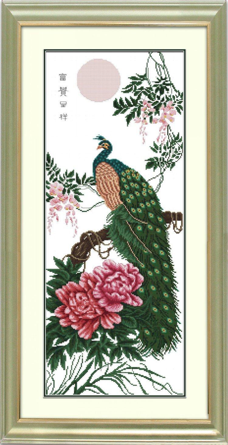钟爱一生 十字绣专卖客厅大画动物孔雀十字绣dw027富贵呈祥 14ct 35cm