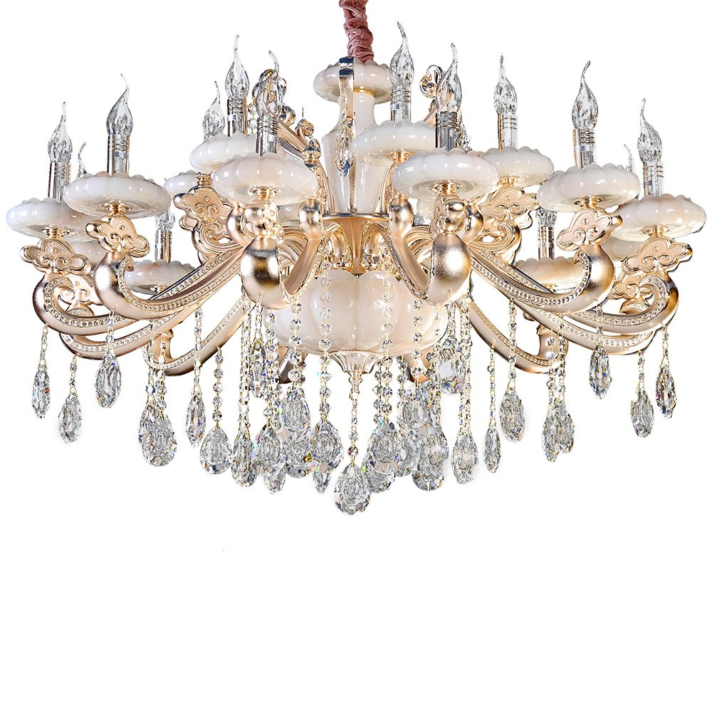 奢华欧式玉石水晶吊灯 蜡烛吊灯欧式复古大气水晶灯客厅卧室吊灯 (18
