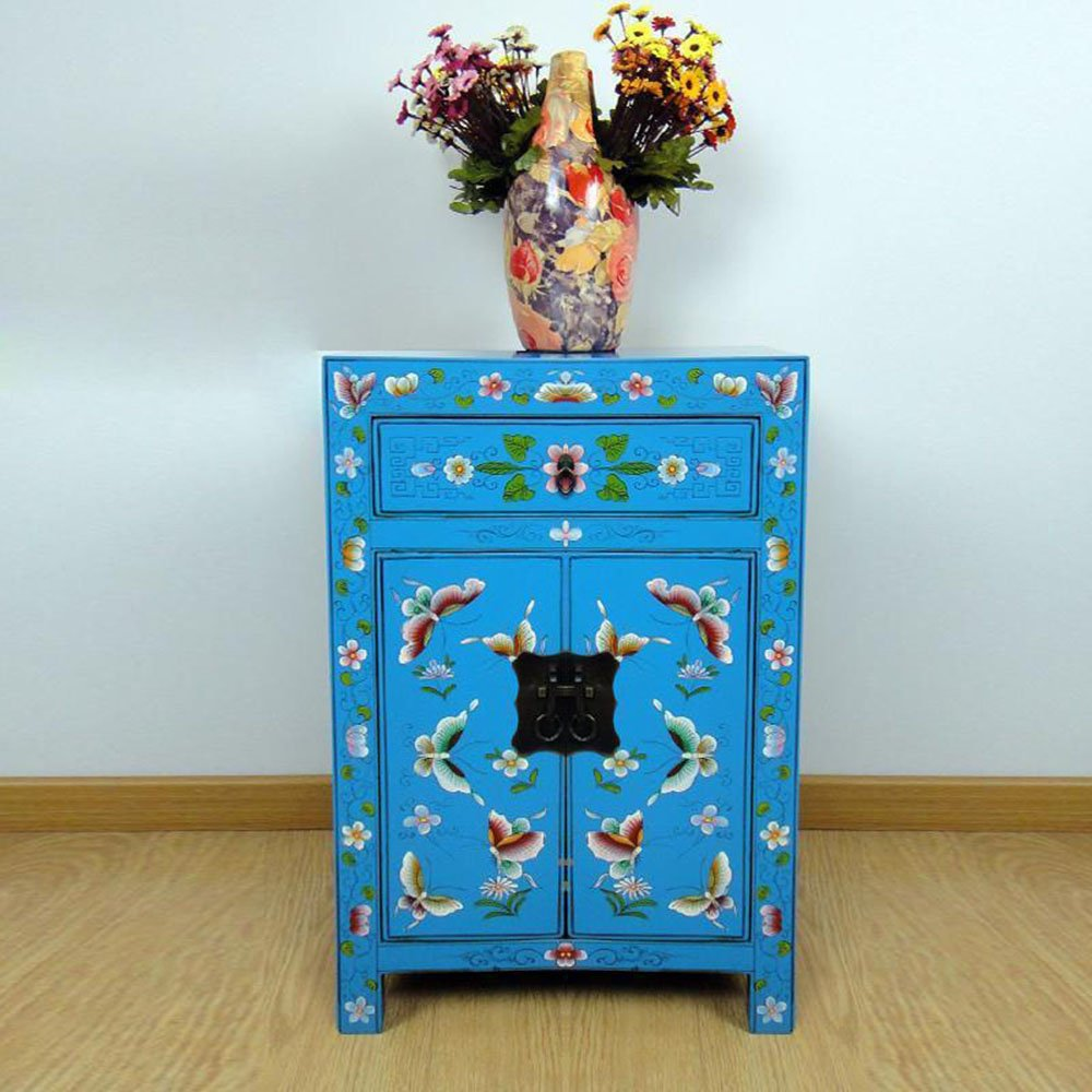 百林檀 床头柜实木 蓝色蝴蝶花榆木储物收纳柜 中式彩绘边柜田园家具
