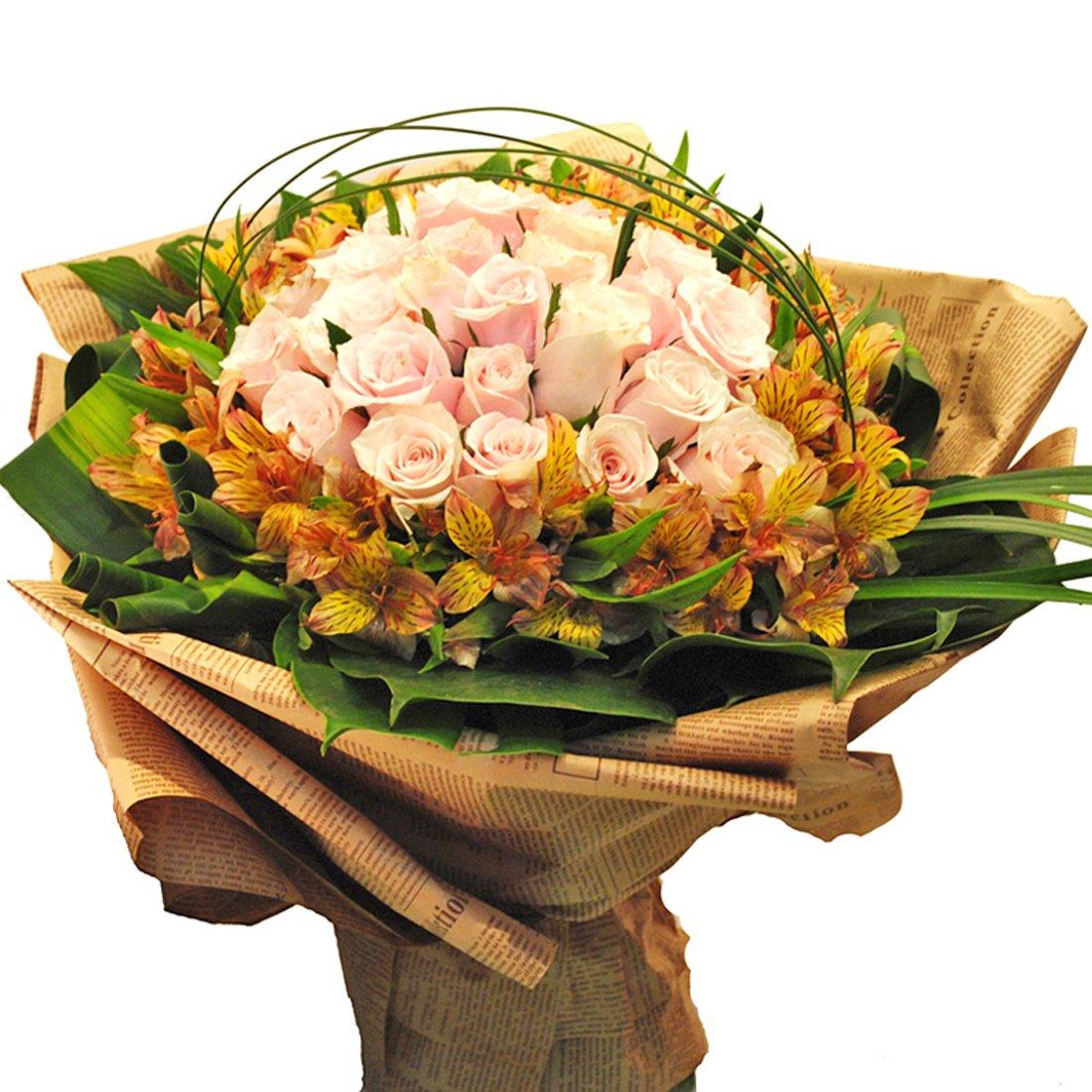 花柚 全国鲜花速递 33朵香槟玫瑰花束生日鲜花情人节订花 北京上海