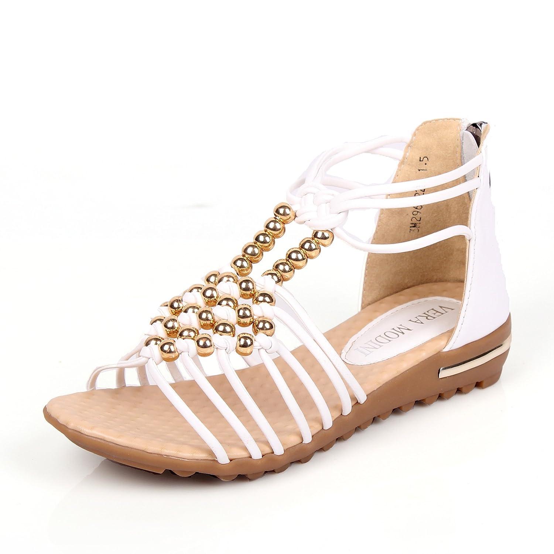 2013凉鞋女罗马鞋编织串珠平底平跟波西米亚真皮【莫