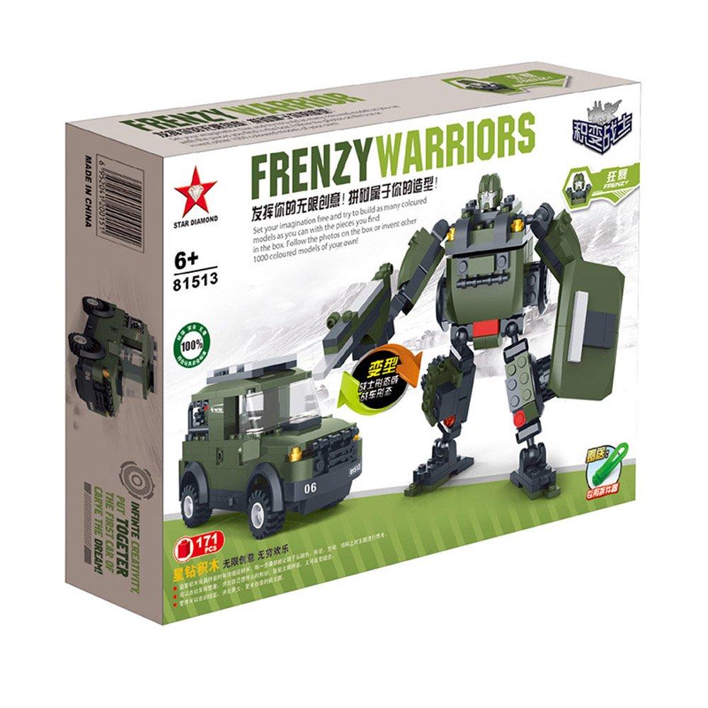 积变战士 机器人 狂暴 乐高式积木 战车 军车 拼装玩具 悍马汽车人
