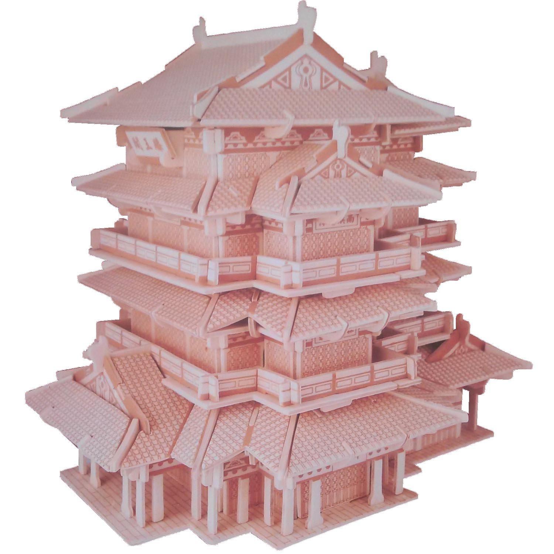 四联g-p236 滕王阁 木质仿真3d立体拼图 (可随意添加颜色) 开发儿童