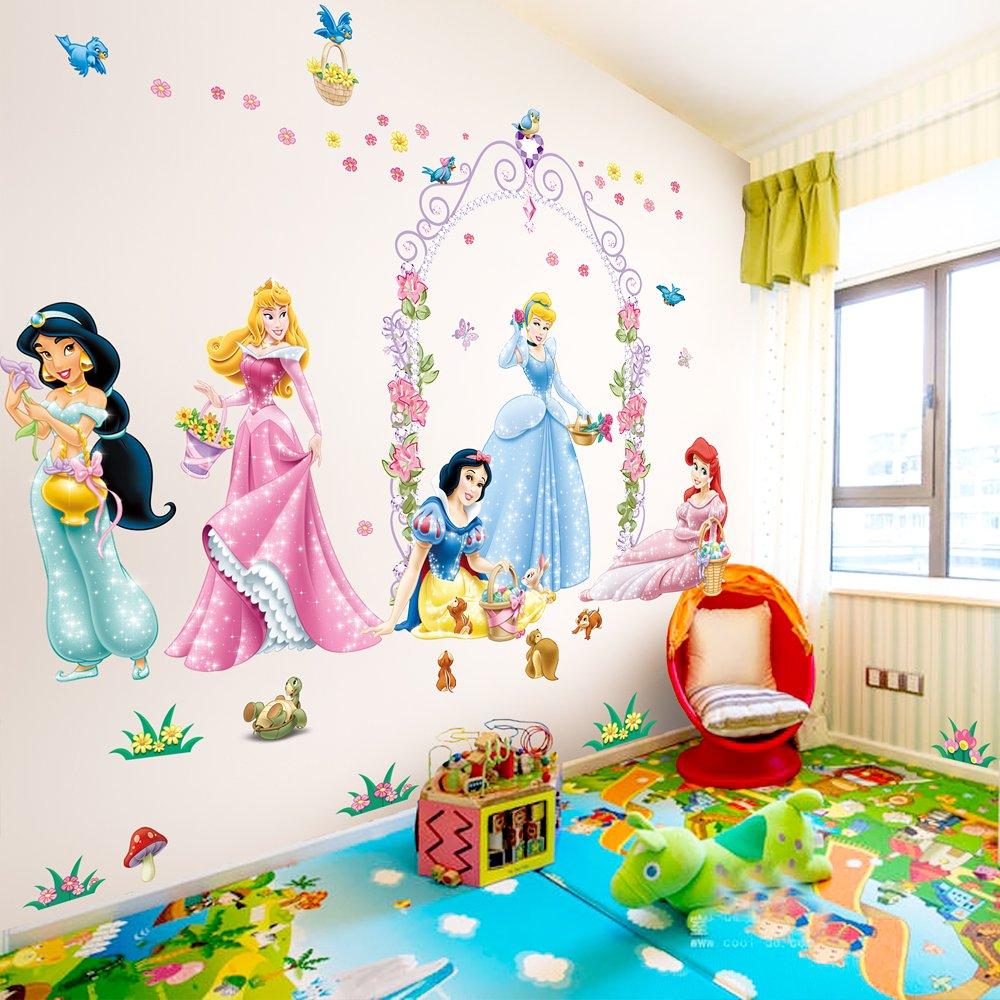 飞彩大型迪士尼公主墙贴纸 儿童房幼儿园温馨浪漫贴画