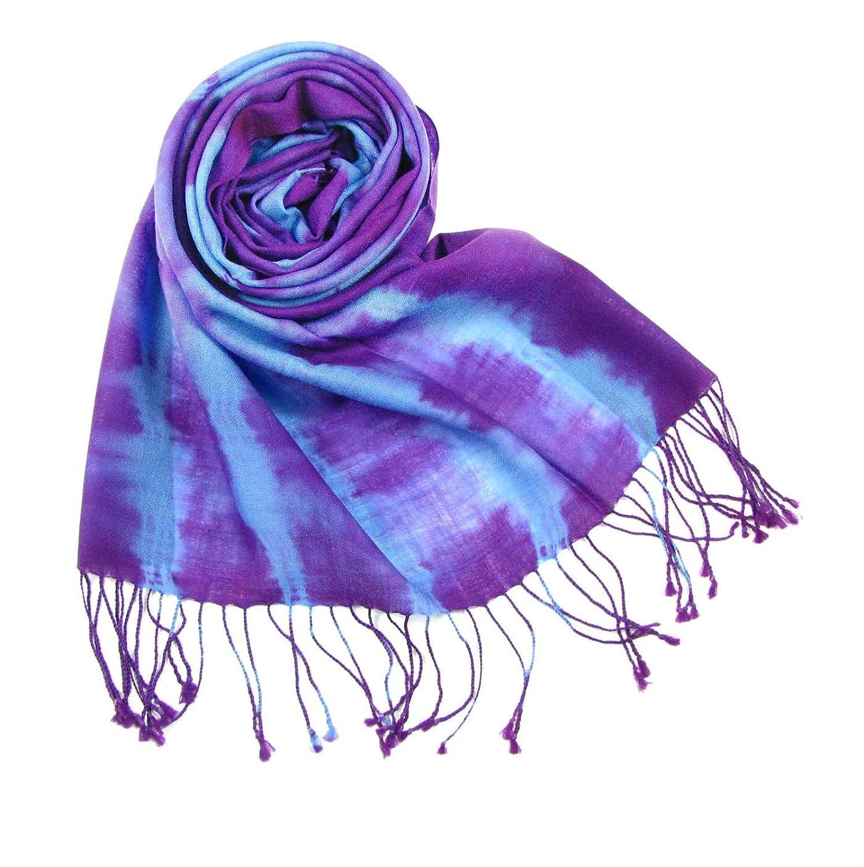 精卓 女士精纺扎染-印花超细羊毛围巾 8037 紫色