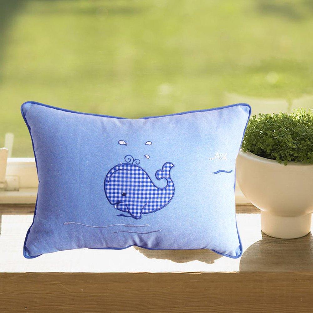 玥美居 儿童卡通可爱,高档,刺绣,蓝色海豚抱枕/靠垫/腰枕装饰枕 天