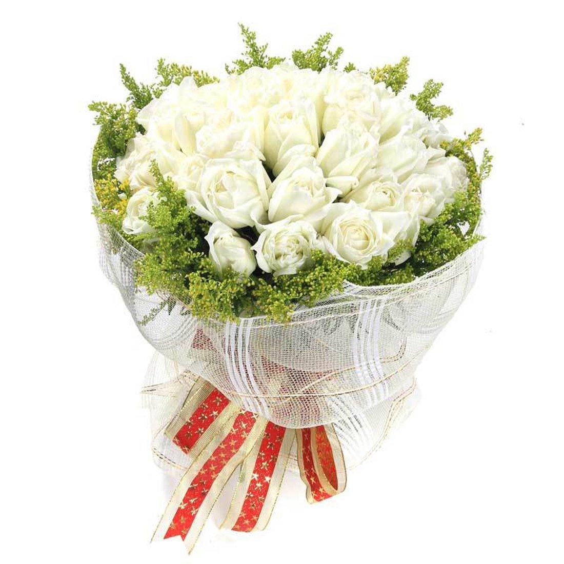 花柚 全国鲜花速递 21朵白玫瑰花束鹤岗送花双鸭山鲜花速递大庆花店