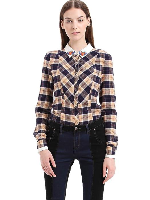 女式 北欧复古学院清新格纹长袖休闲衬衫 113340h4102