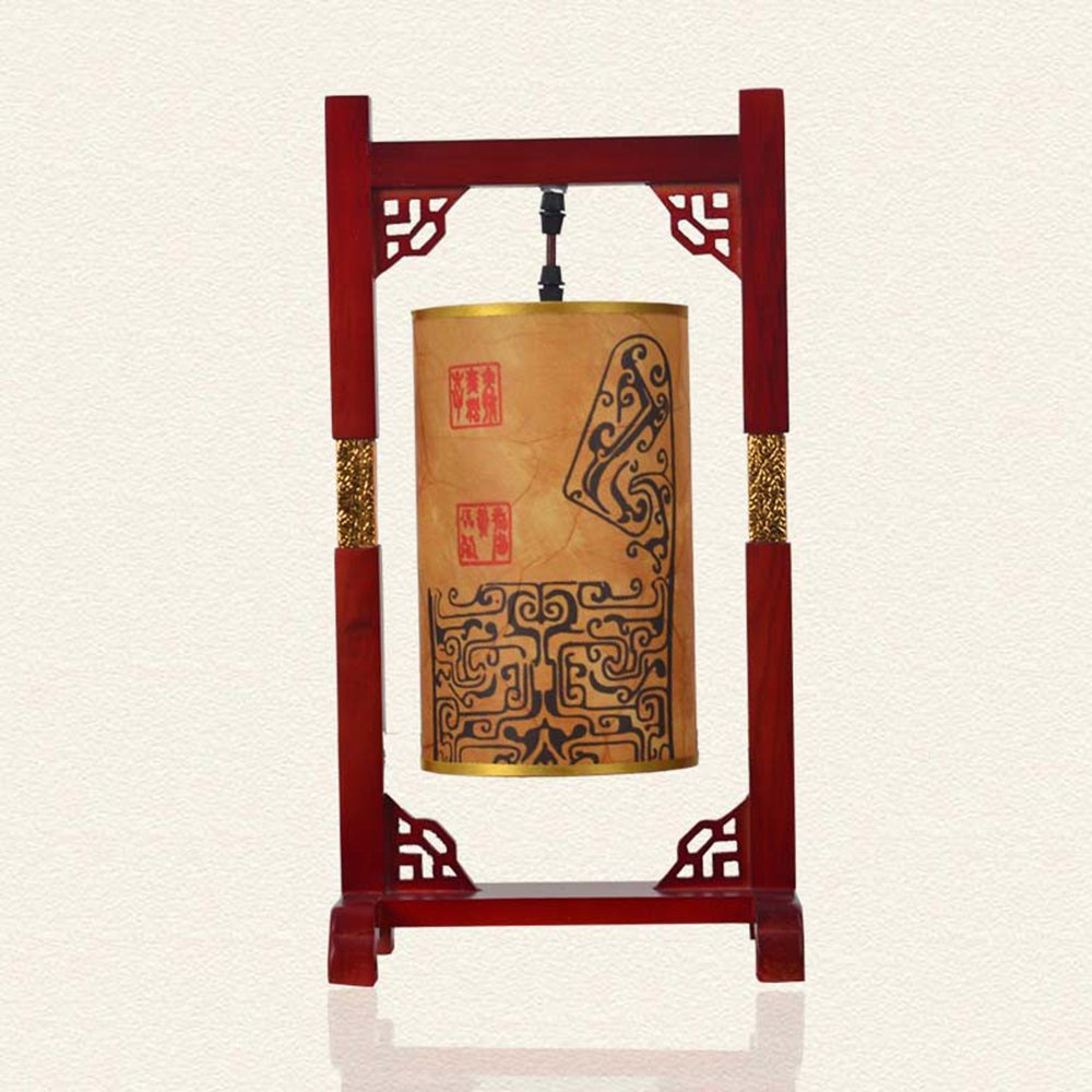 携爱 中式复古台灯 仿古木艺古典卧室灯 装饰台灯木艺