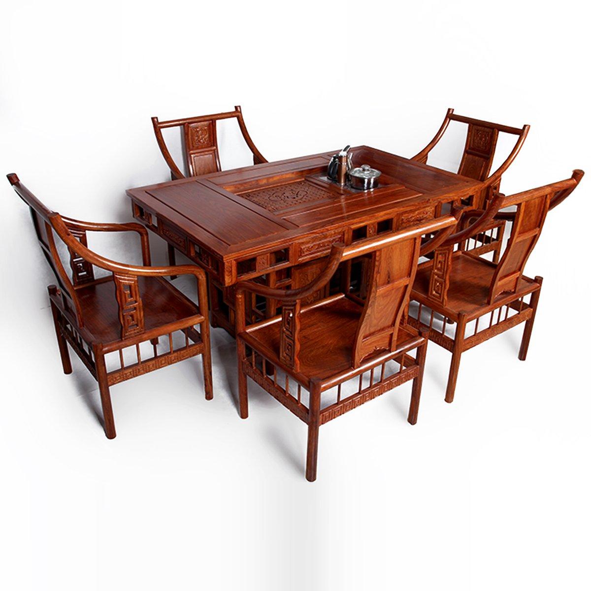龙上龙 红木仿古家具 实木非洲花梨木茶桌茶台 餐桌双用 仿古功夫茶图片