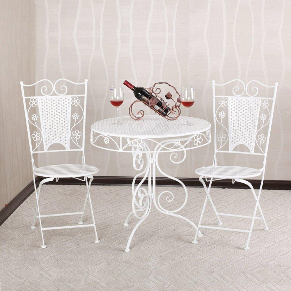 果漫欧式田园铁艺户外庭院阳台休闲桌椅套装(一圆桌两椅)白色