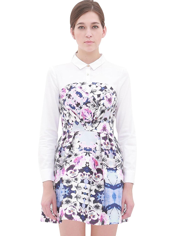 lily 女式 欧式宫廷风复古大印花拼接设计长袖连衣裙