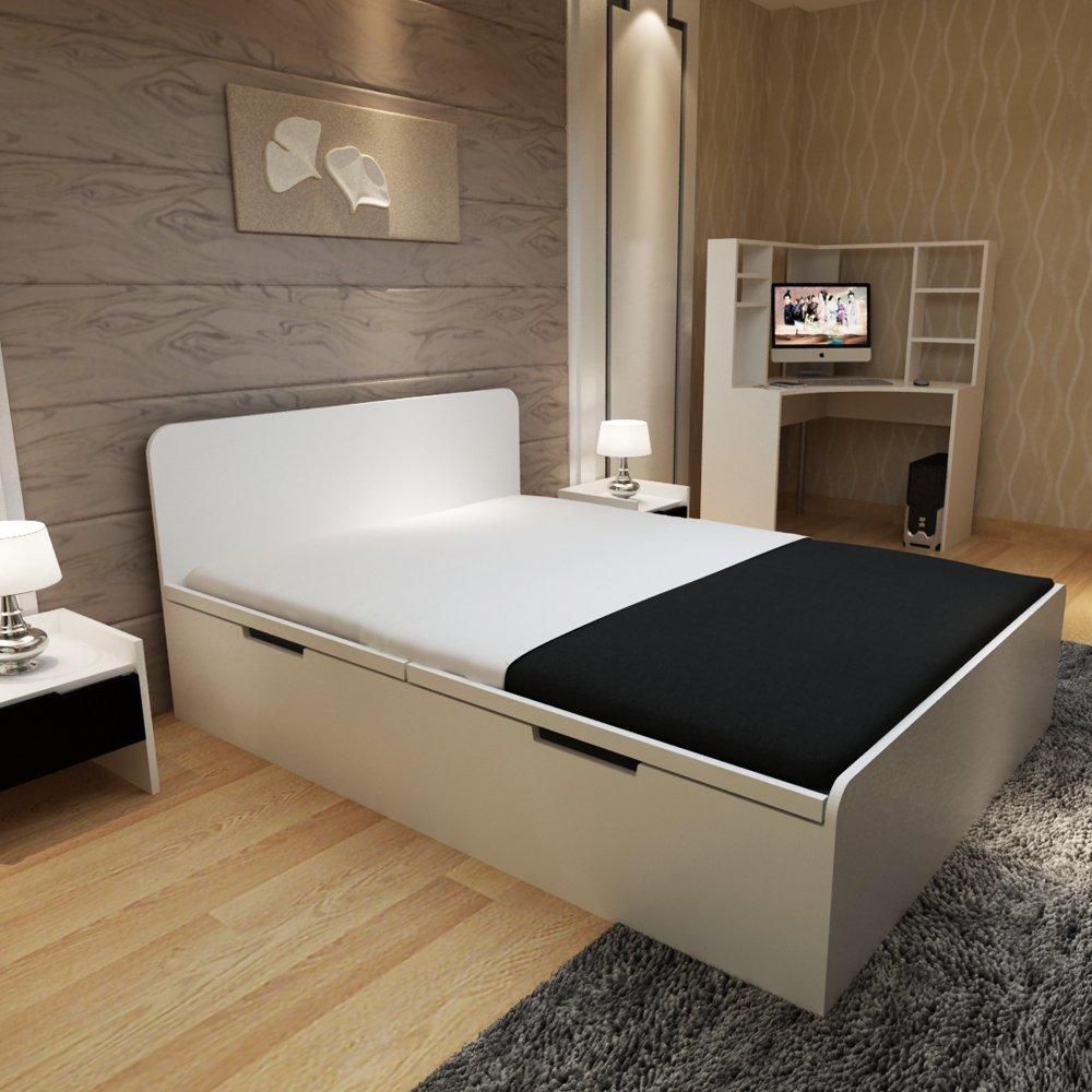 卧室高箱式储物柜 板式双人床大床图片