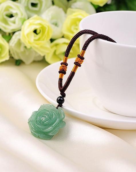 天然东陵玉玫瑰花项链 纯手工编绳 招财幸运石